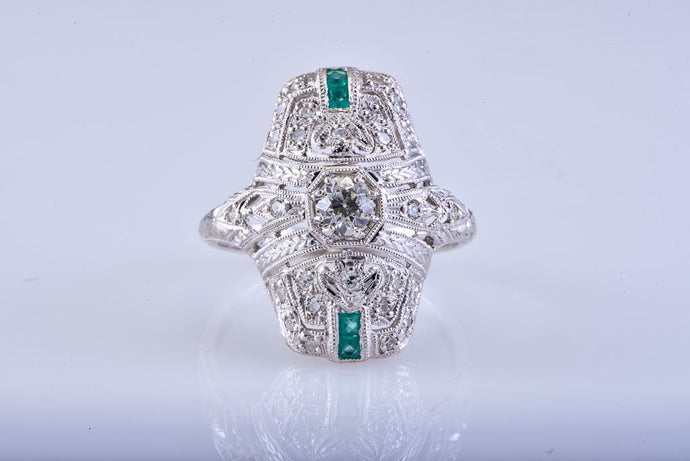 Antique Edwardian Platinum Diamond & Emerald Ring