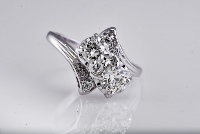 Two Stone Diamond Bypass Ring With Diamond Band