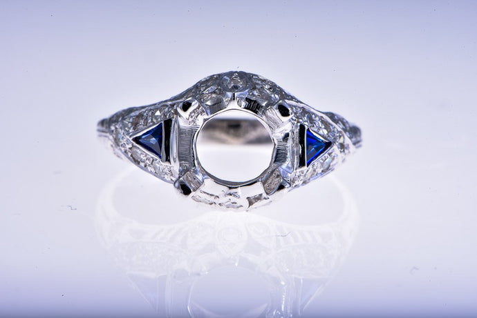14Kt white gold Estate Reproduction Diamond & Sapphire Semi Mount