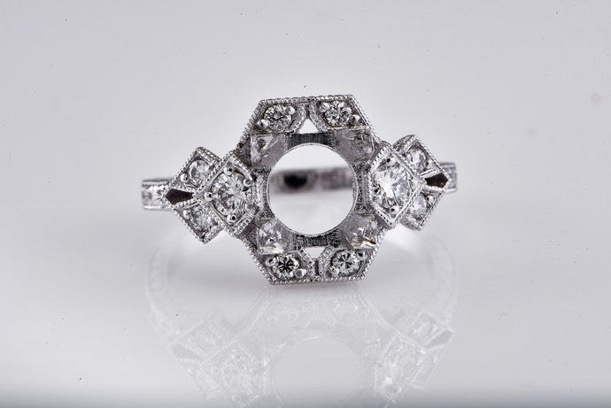 Platinum Art Deco Style Engagement Semi Mount
