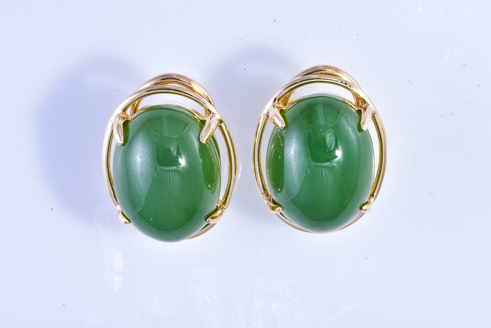 14Kt yellow gold Estate Jade Earrings