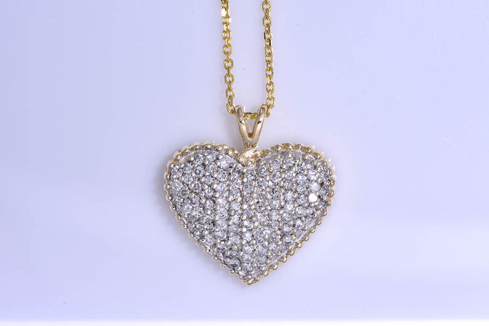Yellow Gold & Diamond Heart Necklace