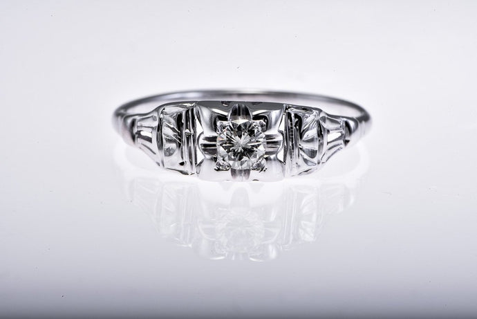 Art Deco White Gold Diamond Engagement Ring