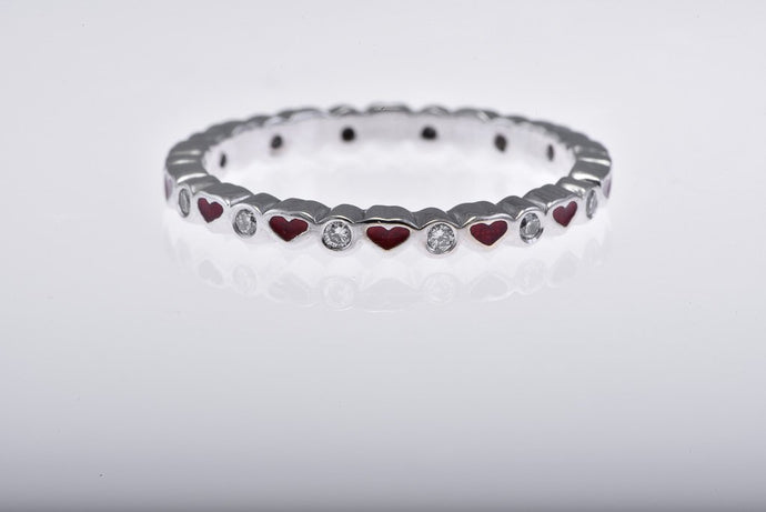 Red Enamel Heart & Diamond Band, Eternity Style