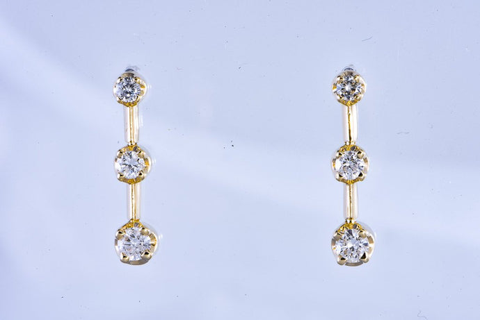 14Kt yellow gold diamond bar dangle pierced earrings