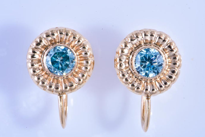 14Kt yellow gold, Estate French Clip Earrings with blue stone