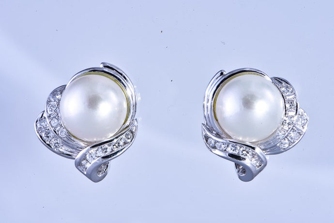 18Kt white gold Estate pearl & diamond earrings