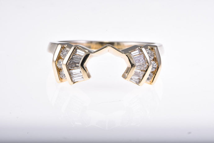 14Kt yellow gold baguette diamond semi mount