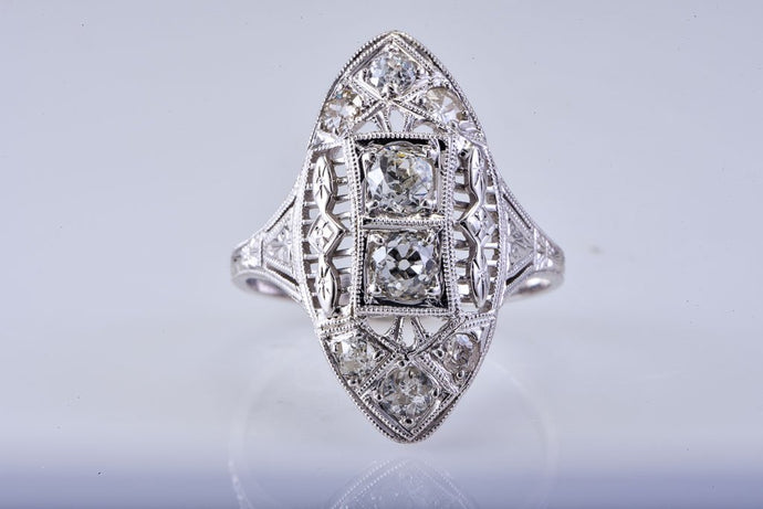 Estate White Gold Art Deco Fillagree Style Diamond Ring