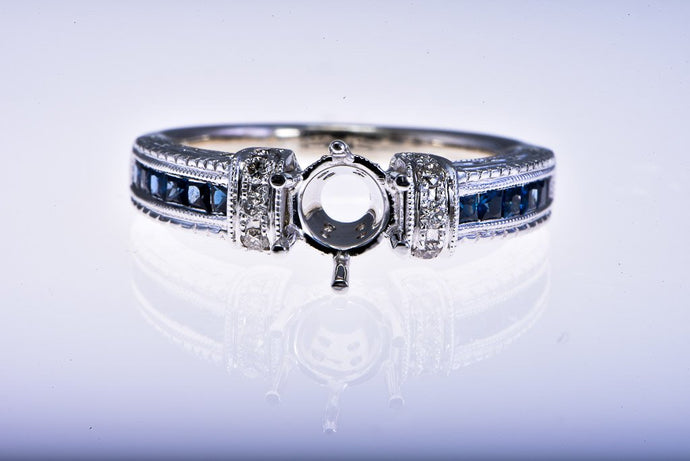 14Kt white gold Semi Mount, Diamond & Sapphire