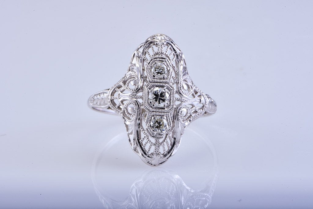 Art Deco White Gold & Diamond Ring, Fillagree Style