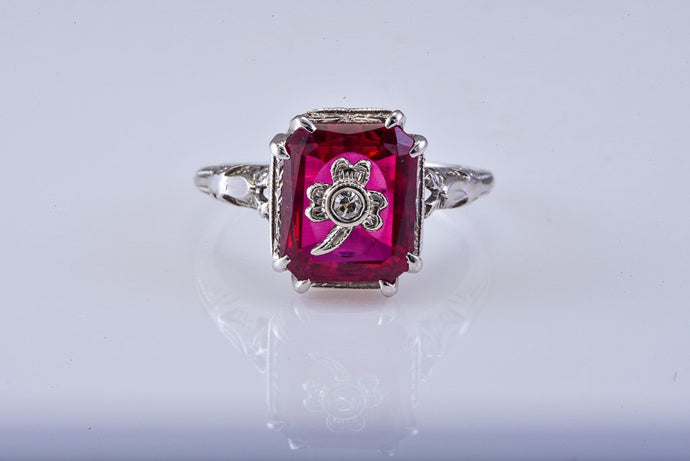 Vintage White Gold Ring with Red Synthtic Emerald cut Center
