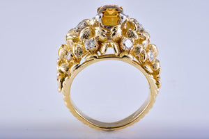 Estate Yellow Gold & Yellow Diamond & Sapphire Ring