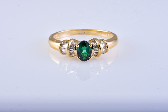 Estate Yellow Gold Emerald & Diamond Ring