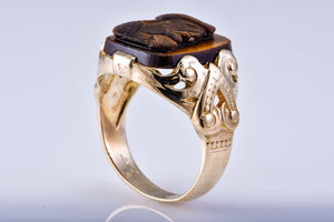 Estate Gents Hellenic Tiger Eye Yellow Gold RIng