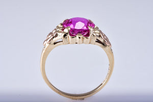 Estate Yellow Gold & Rose Gold Ring with Pink Synthetic Center Stone