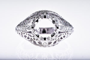 Platinum Fillagree Estate Reproduction Diamond Semi Mount