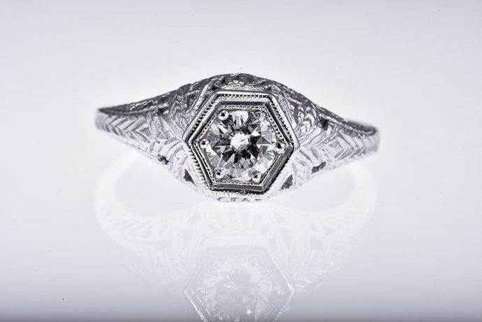 14Kt white gold Estate Diamond Ring, Fillagree Design