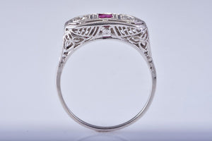 White Gold Ring With Center Square Ruby and Two Diamonds