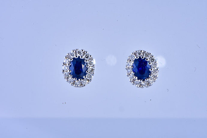 14Kt white gold small sapphire & diamond stud earrings