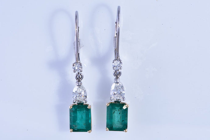 14Kt white gold, Dangle Emerald & Diamond Earrings