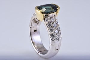 White Gold & Diamond Ring with Natural Green Sapphire