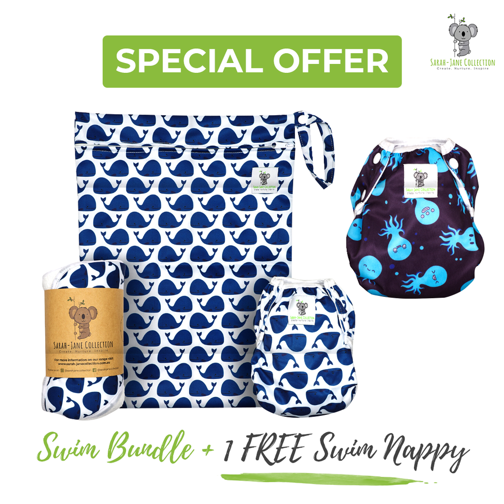 Baby & Toddler Swim Bundle- Blue Whale + 1 FREE Swim Nappy!