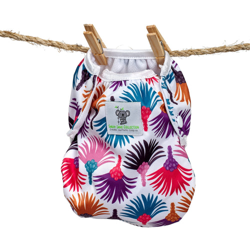 Reusable Swim Nappy- Carnival Feather LARGE