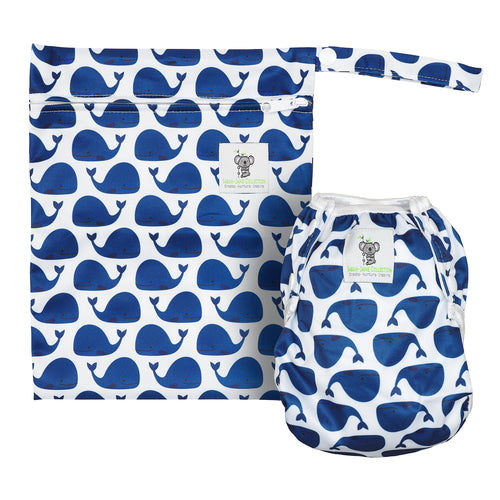 Reusable Swim Nappy & Waterproof Wet Bag- Blue Whale **PRE-ORDER NOW**