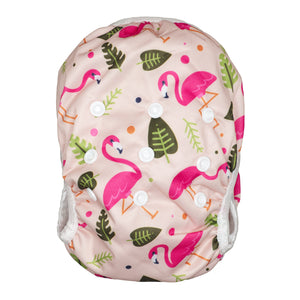 Reusable Swim Nappy & Waterproof Wet Bag- Pink Flamingo