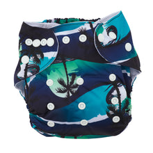 Load image into Gallery viewer, Modern Cloth Nappy (Pocket-OSFM)- 0-3 yrs- Night Palms