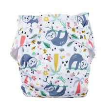 Load image into Gallery viewer, Modern Cloth Nappy (Pocket-OSFM)- 6 Starter Pack- 0-3 yrs Dino/ Palm/ Sloth & Grey/Khaki