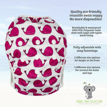 Load image into Gallery viewer, Reusable Swim Nappy- Fuschia Pink Whale