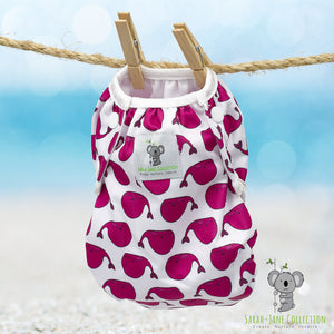 Reusable Swim Nappy & Waterproof Wet Bag- Fuschia Pink Whale