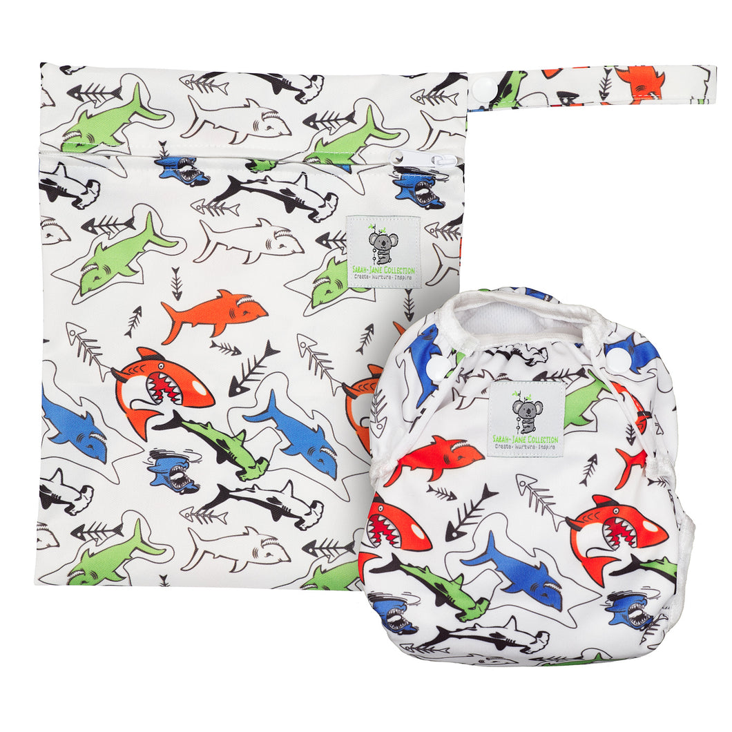 Reusable Swim Nappy & Waterproof Wet Bag- Shark