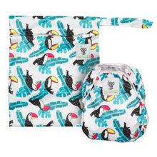 Load image into Gallery viewer, Reusable Swim Nappy & Waterproof Wet Bag- Toucan Aqua