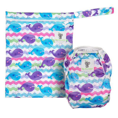 Reusable Swim Nappy & Waterproof Wet Bag- Purple Whale