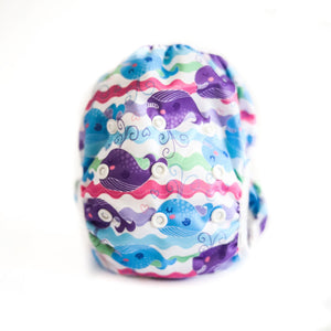 Reusable Swim Nappy Bundle- Set of 2 - Flamingo & Purple Whale