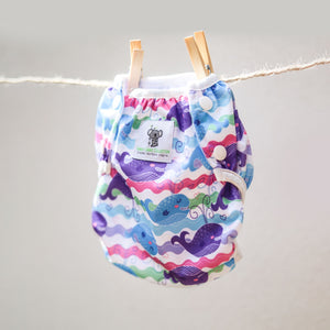 Reusable Swim Nappy- Purple Whale