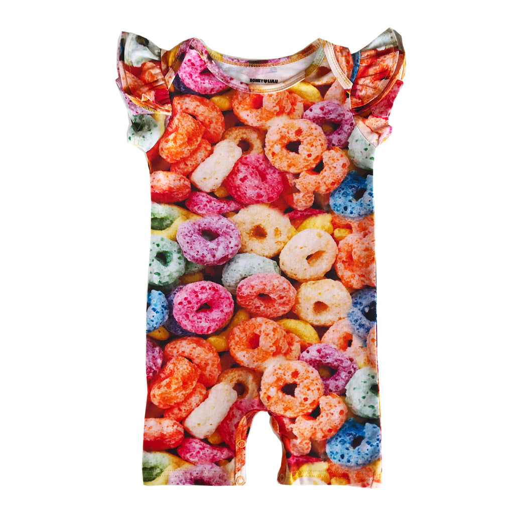 Ruffle Short Romper - Fruit Cereal