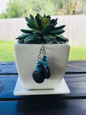 Black Lava Stone Bead Dangle Earrings
