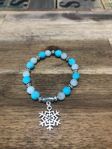 Frozen Inspired Howlite and Blue Jade Kids Bracelet