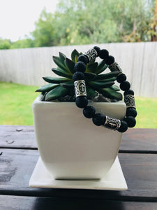 Lava Stone Diffuser Bracelet with Norse Viking Beads (Mens)