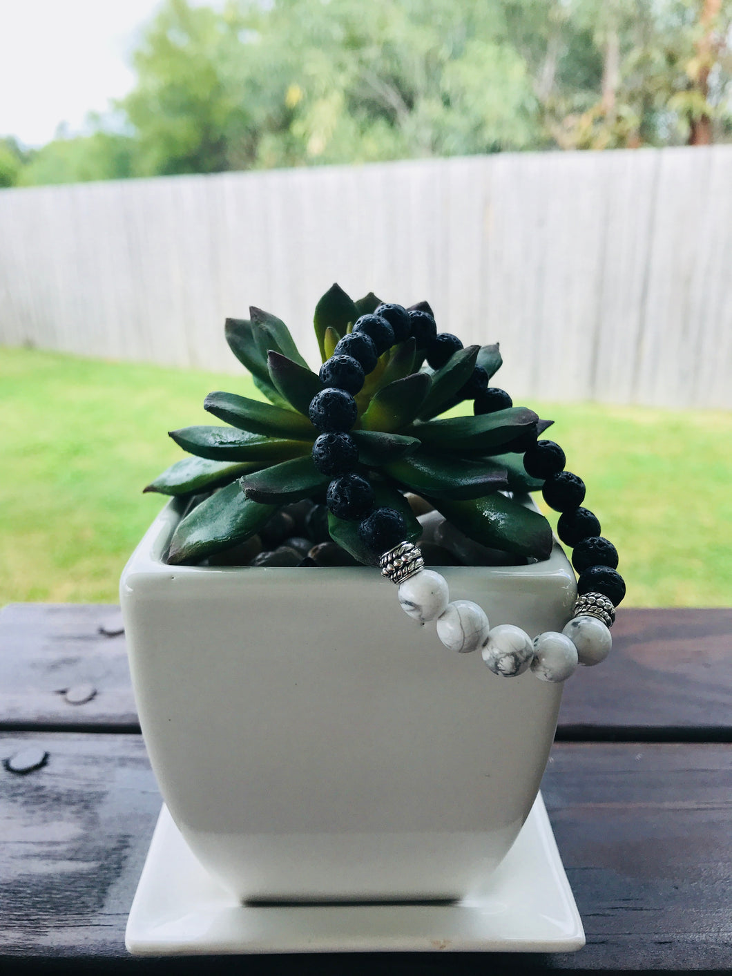 Lava Rock and Howlite Diffuser Bracelet