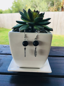 Lava Bead Feather Diffuser Earrings