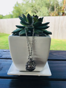 Antique Silver Diffuser Locket Necklace