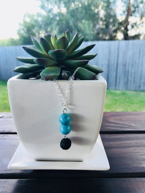 Lava Rock Bead and Turquoise Bead Silver Diffuser Necklace