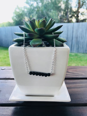 Lava Bead Silver diffuser Necklace