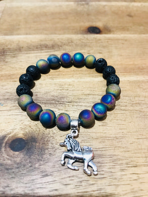 Kids Unicorn Diffuser Bracelet Rainbow Druzy Agate and Lava Beads