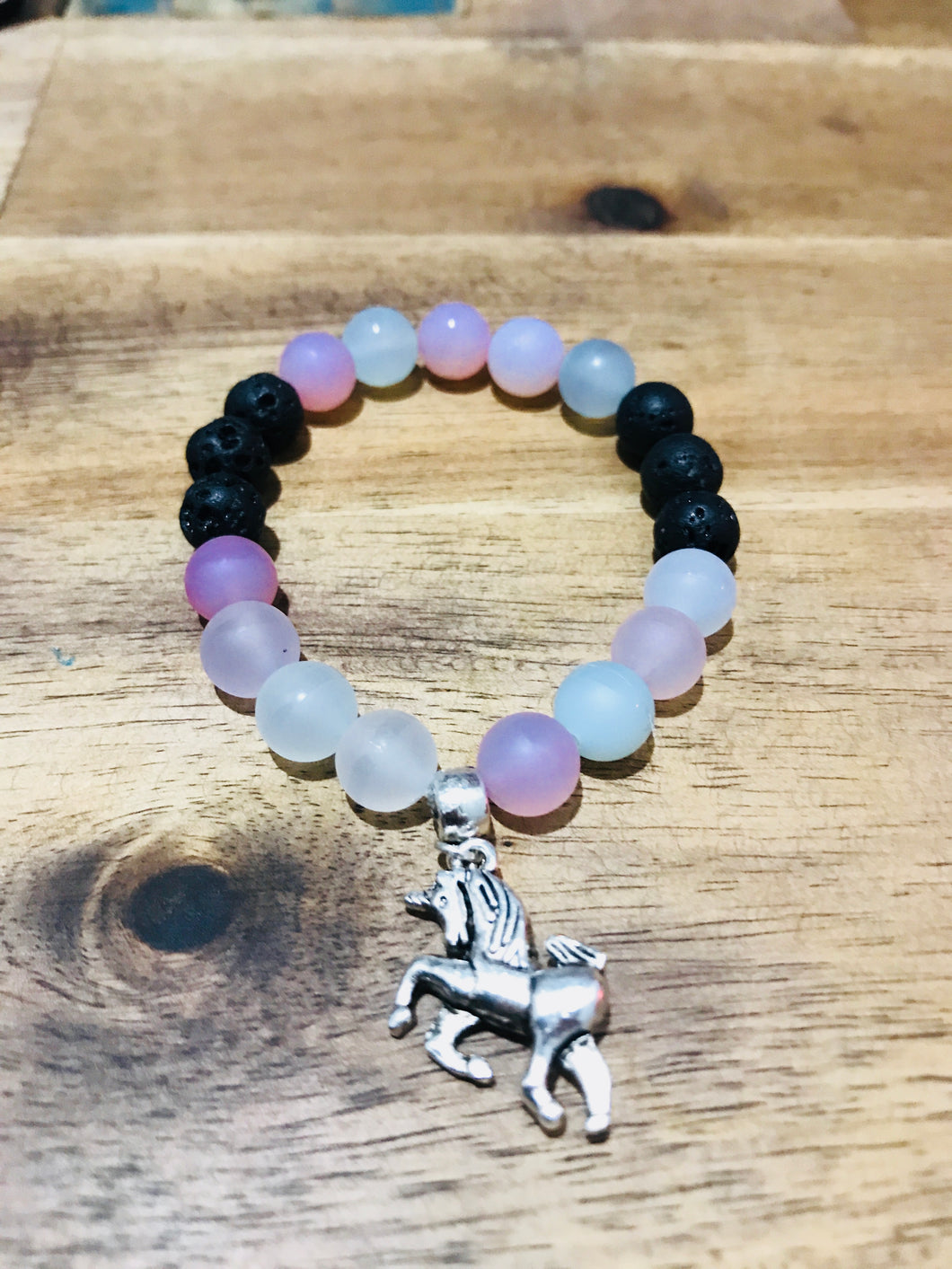 Kids Unicorn Diffuser Bracelet Pastel Agate and Lava Beads